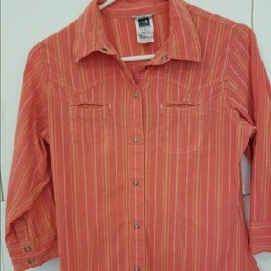 North Face Button Up Hiking Active Orange Small